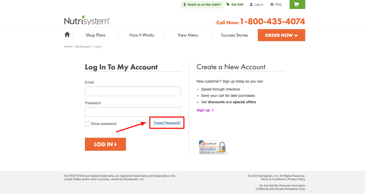 Nutrisystem account login
