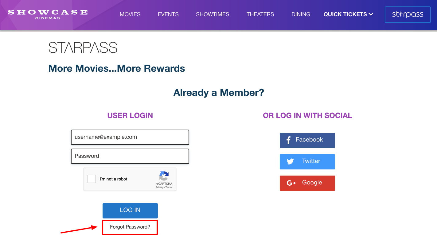 Starpass rewards Login