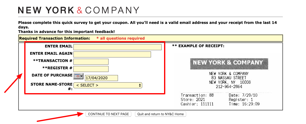 New York & Company Survey
