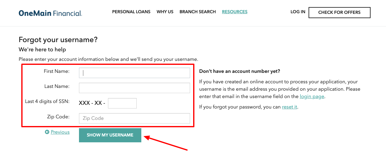 OneMain Financial Forgot Username