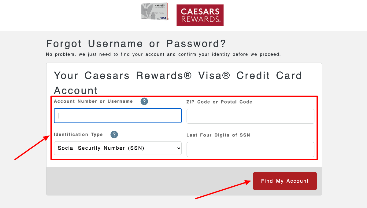 Register for Online Access to Your Caesars Rewards Visa Credit Card Account